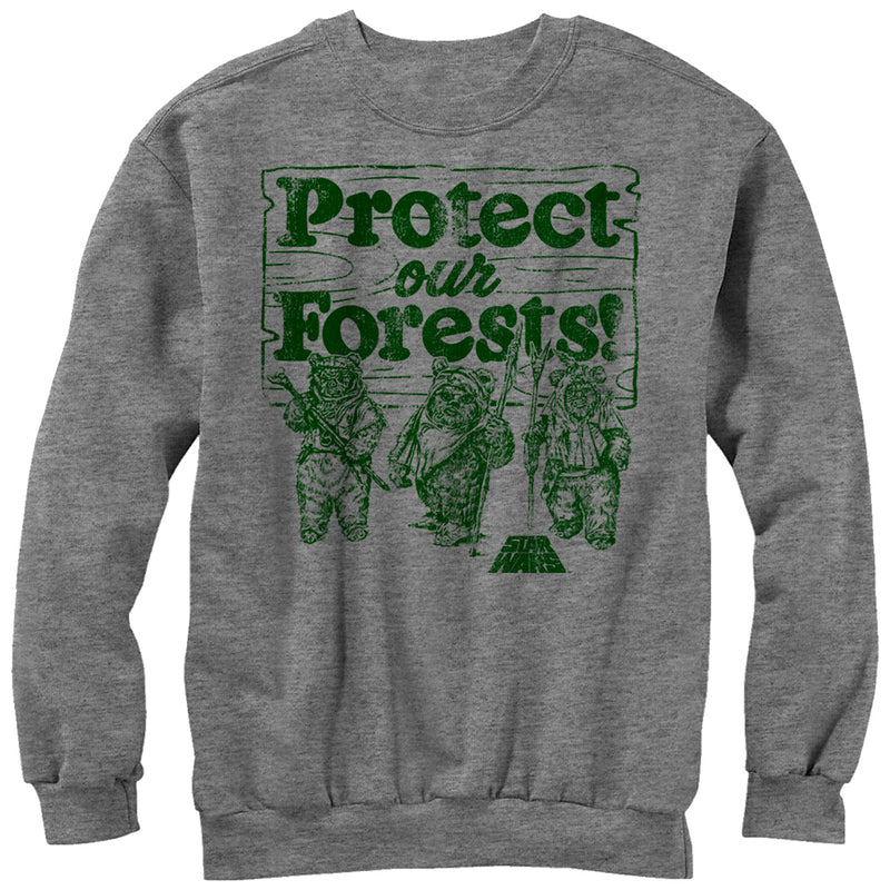 Star Wars Men's Ewok Protect Our Forests  Sweatshirt  Athletic Heather  S