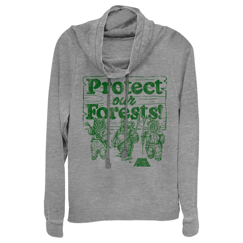 Star Wars Junior's Ewok Protect Our Forests  Cowl Neck Sweatshirt  Gray Heather  2XL