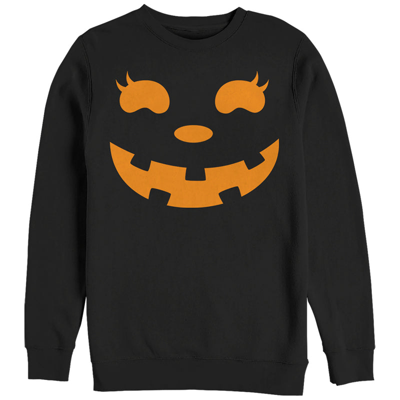 CHIN UP Women's Halloween Jack o' Lantern Face  Sweatshirt  Black  XL