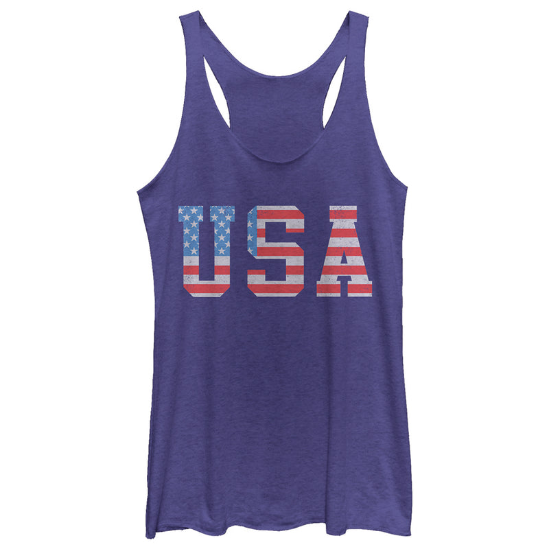 Lost Gods American Flag Letters USA Womens Graphic Racerback Tank