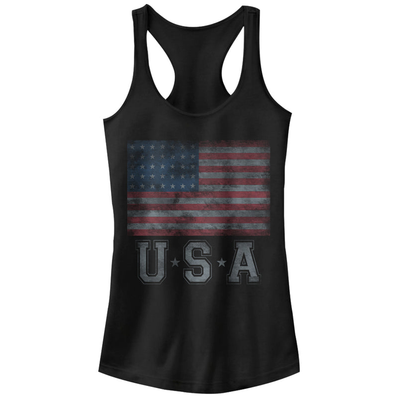 Lost Gods Junior's USA Flag Stars  Racerback Tank Top  Black