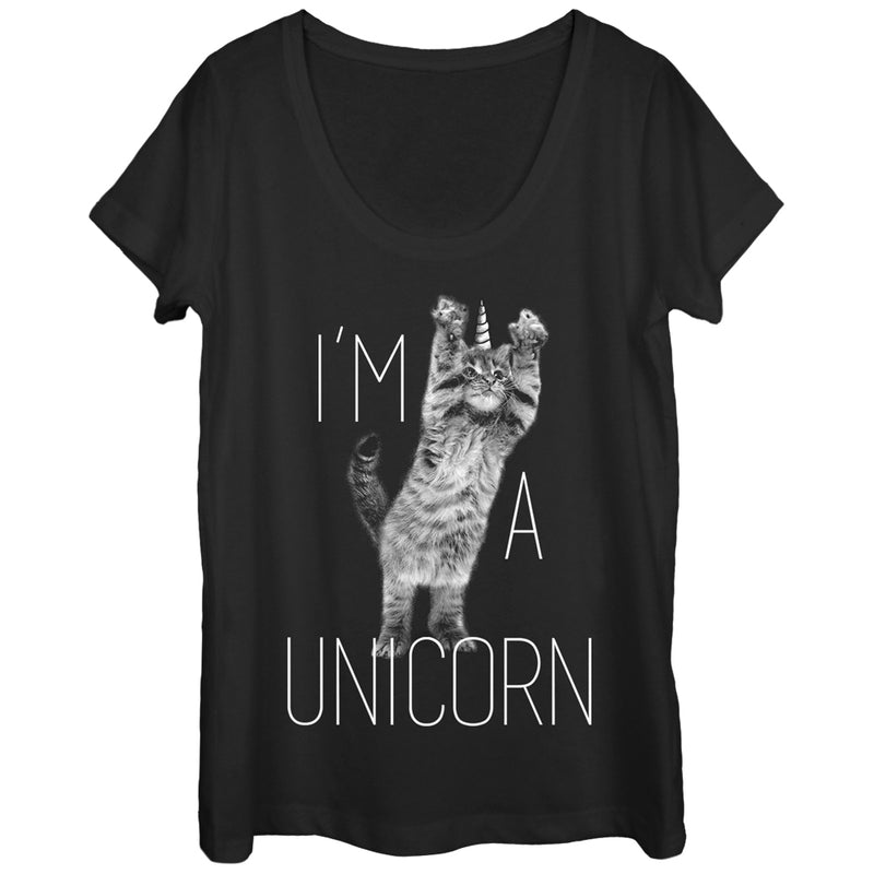 Lost Gods I'm a Unicorn Cat Womens Graphic Scoop Neck