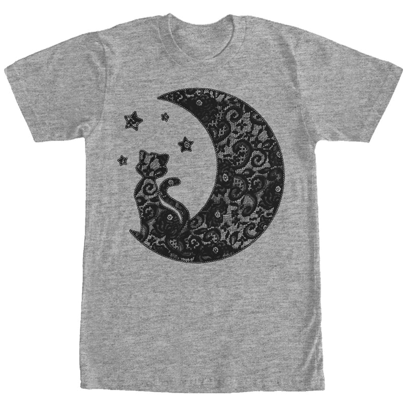 Lost Gods The Cat in the Moon Lace Print Mens Graphic T Shirt