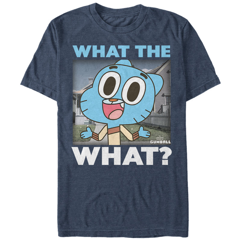 The Amazing World of Gumball Men's What the What  T-Shirt  Navy Blue Heather  M