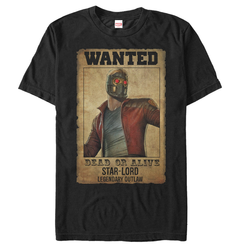 Marvel Men's Guardians of the Galaxy Star-Lord Wanted Poster  T-Shirt  Black  L