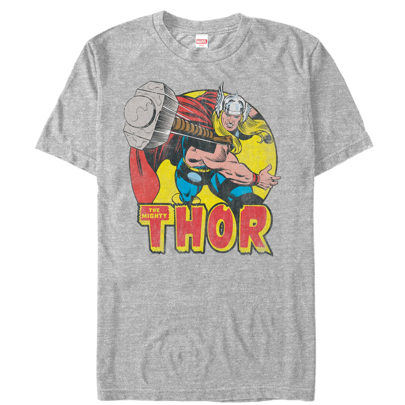 Marvel Men's Mighty Thor Hammer Throw  T-Shirt  Athletic Heather  S
