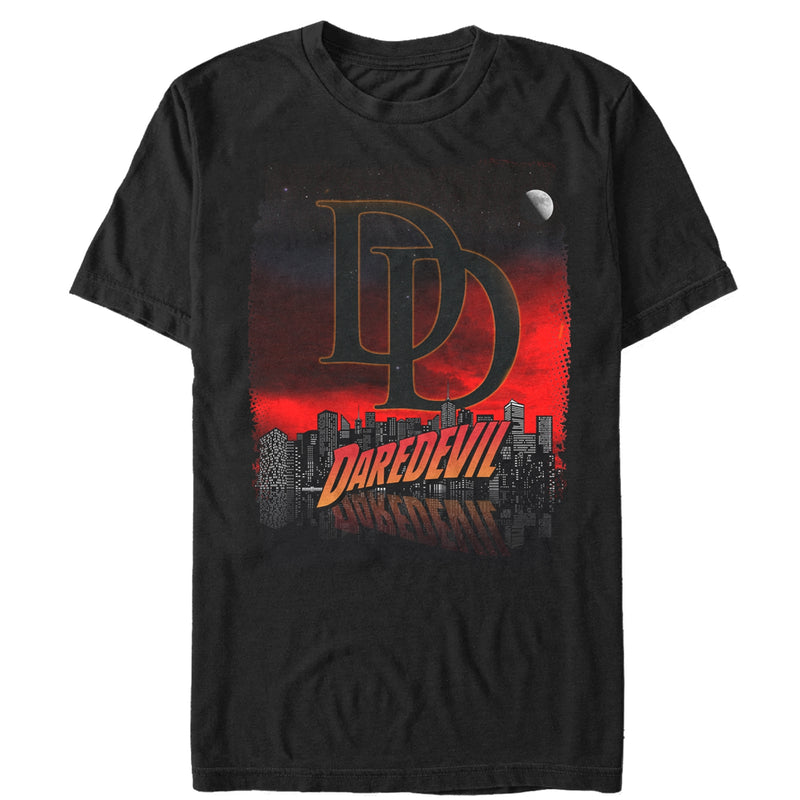 Marvel Men's Daredevil Hell's Kitchen Cityscape  T-Shirt  Black  L