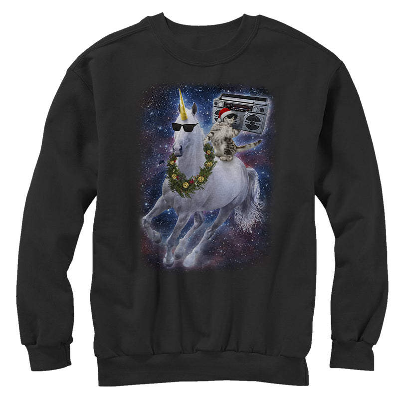 Lost Gods Men's Ugly Christmas Cat Unicorn Space Song  Sweatshirt  Black  L