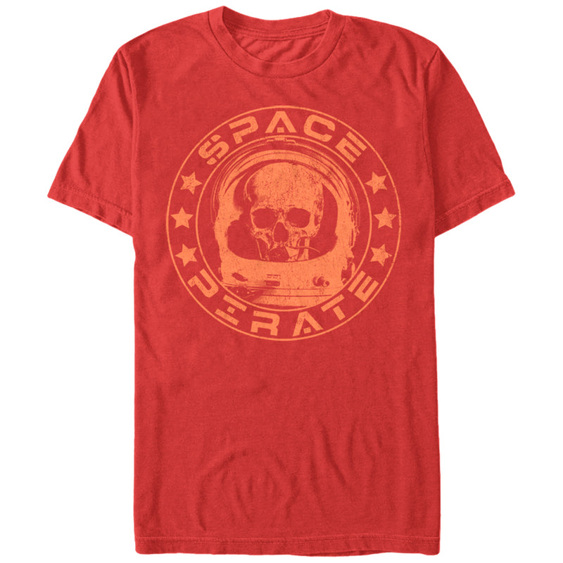 Lost Gods Men's Space Pirate Skull Astronaut  T-Shirt  Red  XL
