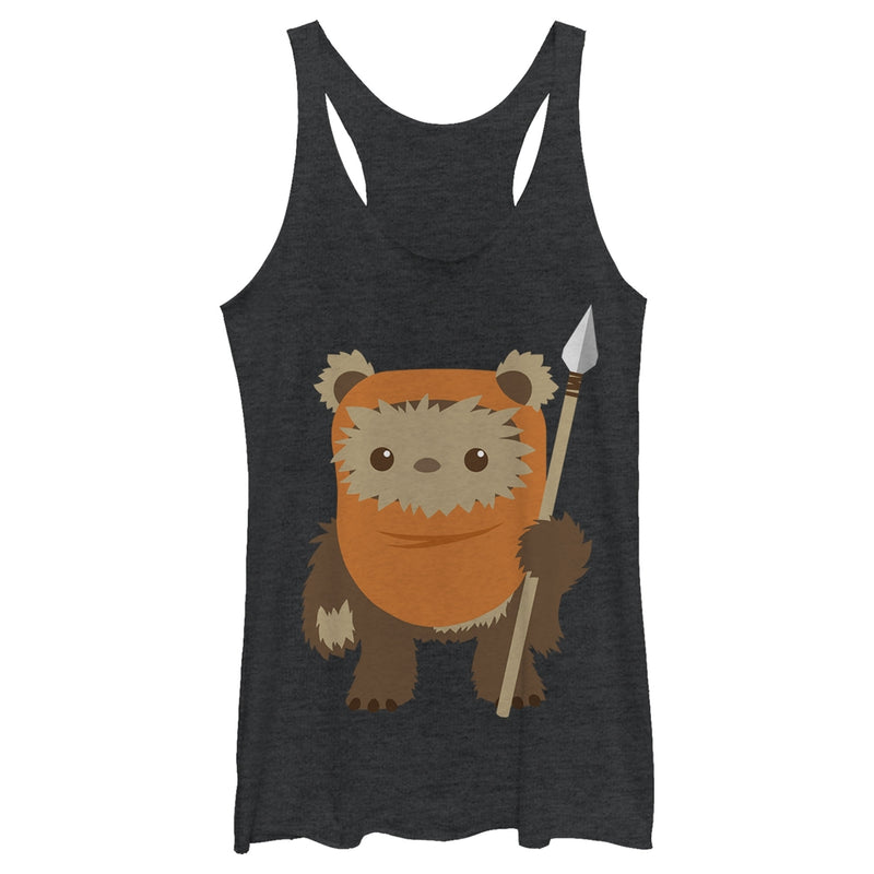 Star Wars Women's Wicket Ewok Cartoon  Racerback Tank Top  Black Heather  M