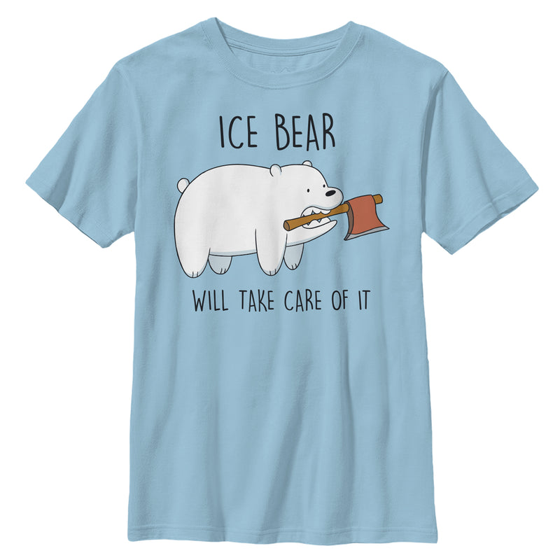 We Bare Bears Boy's Ice Bear Will Take Care of It  T-Shirt