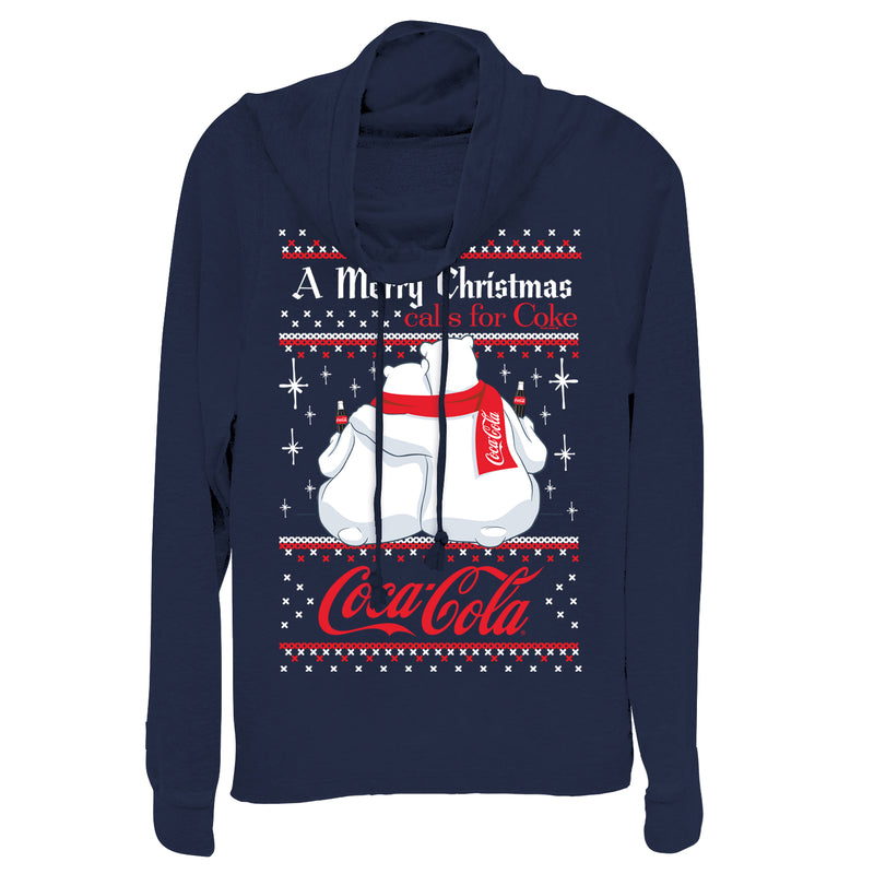 Coca Cola Junior's Merry Christmas Polar Bear  Cowl Neck Sweatshirt  Navy Blue  2XL