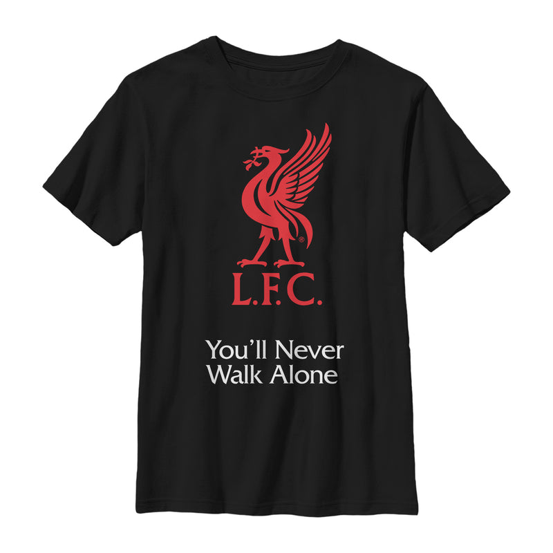 Liverpool Football Club Boy's Bird Logo Never Walk Alone  T-Shirt  Black  L
