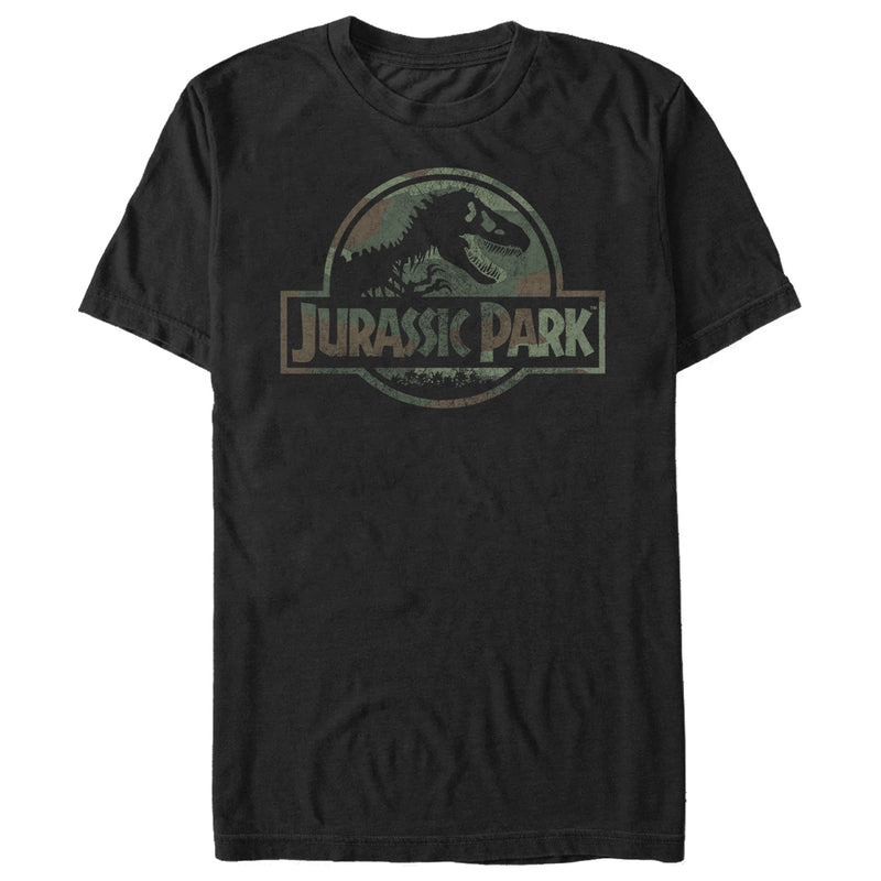 Jurassic Park Men's Dark Camo Logo  T-Shirt  Black  S
