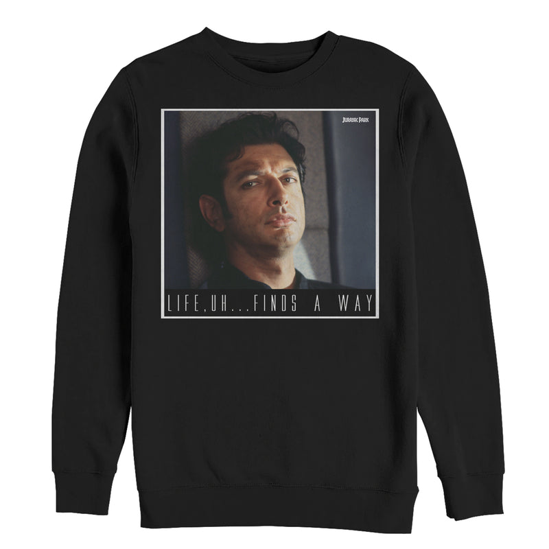 Jurassic Park Men's Dr. Malcolm Life Uh Finds Way  Sweatshirt  Black  S