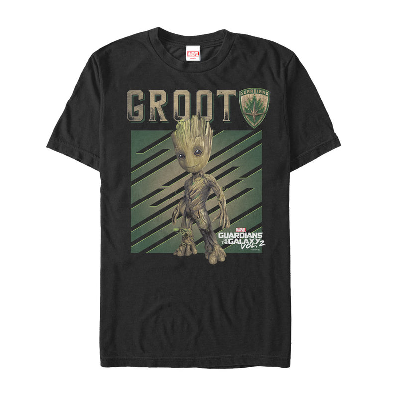 Marvel Men's Guardians of the Galaxy Vol. 2 Groot Growth  T-Shirt  Black  S