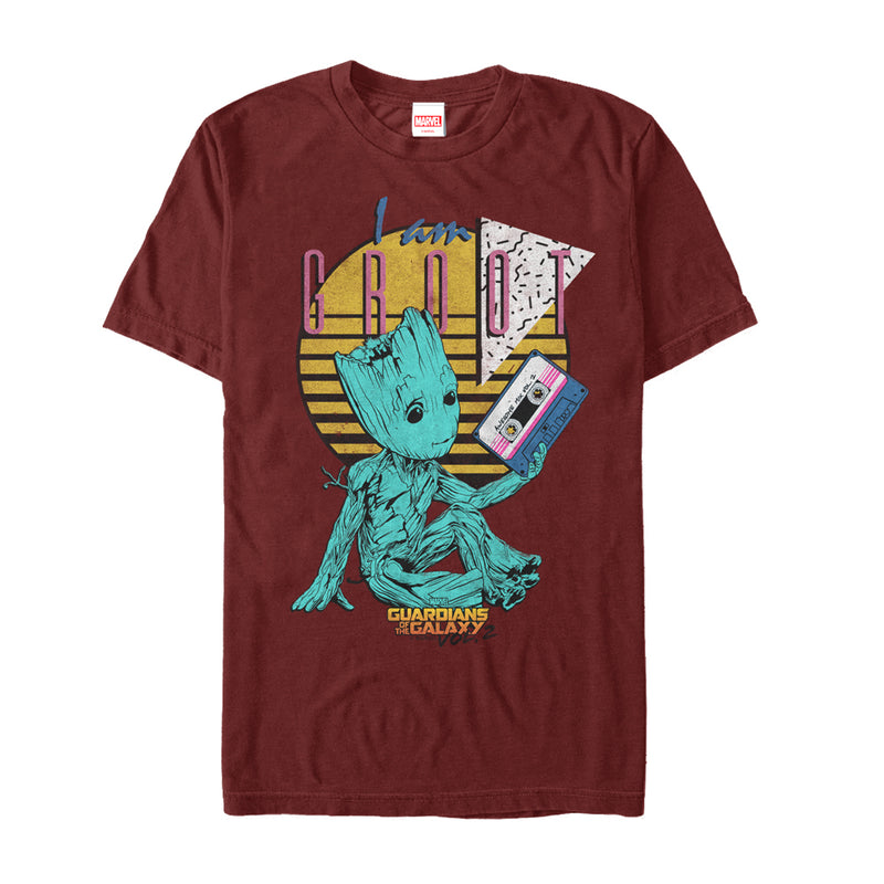 Marvel Men's Guardians of the Galaxy Vol. 2 Groot Tape  T-Shirt  Cardinal  XL