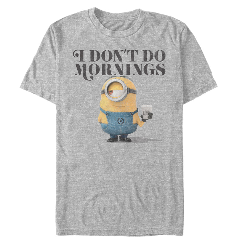 Despicable Me Men's Minion Don't Do Mornings  T-Shirt  Athletic Heather  M