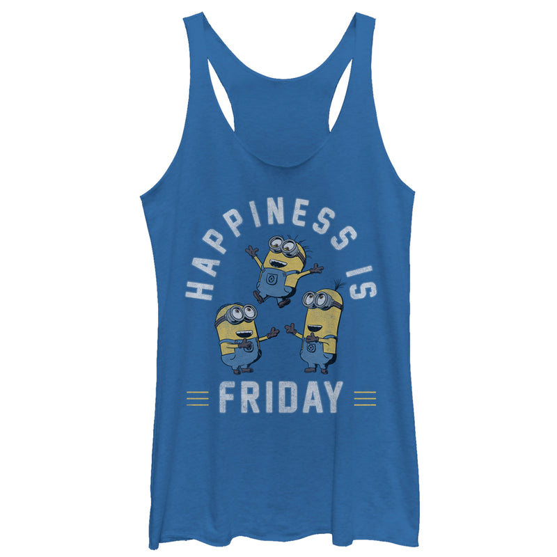 Despicable Me Minion Happiness is Friday Womens Graphic Racerback Tank
