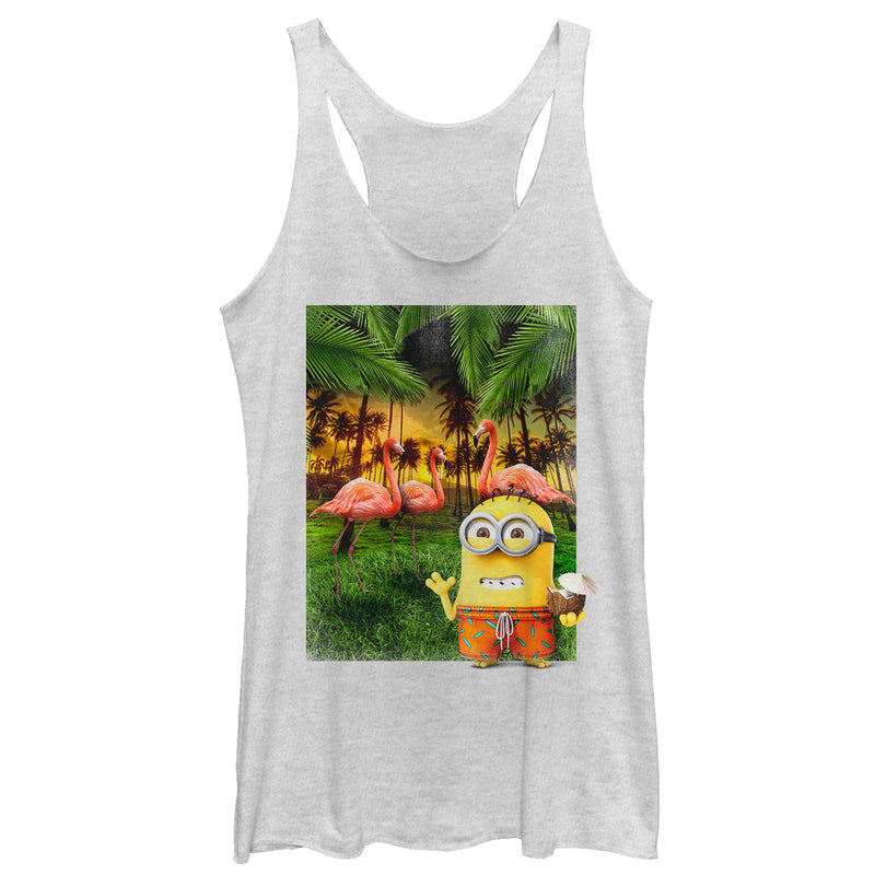 Despicable Me Minion Flamingo Vacation Womens Graphic Racerback Tank