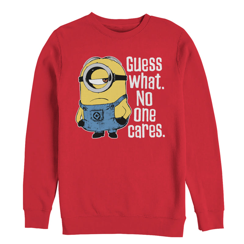 Despicable Me Minion No One Cares Mens Graphic Sweatshirt