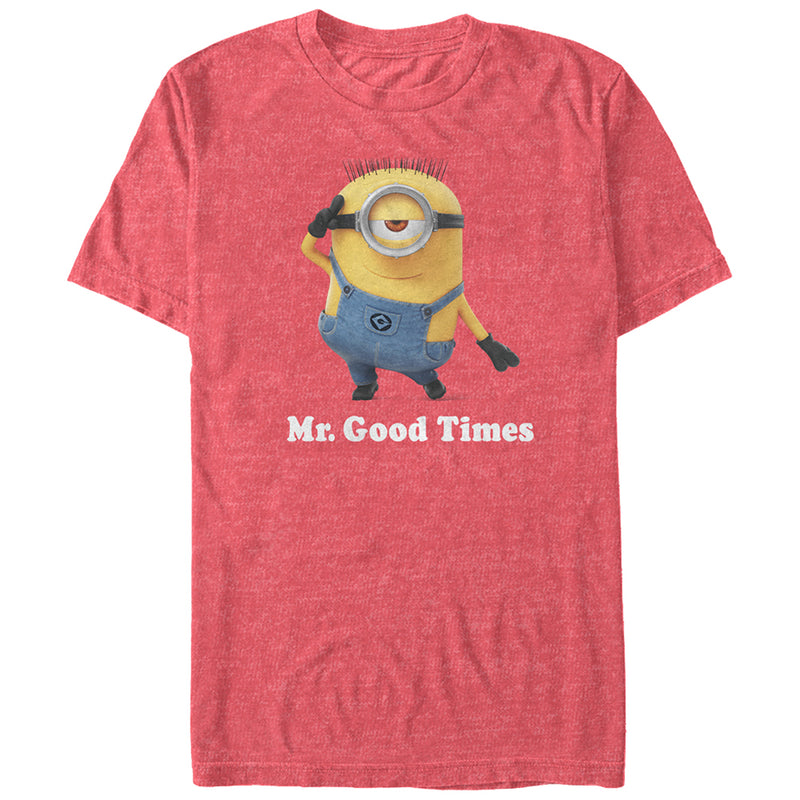 Despicable Me Men's Minion Mr. Good Times  T-Shirt  Red Heather