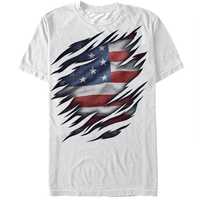Lost Gods Fourth of July American Flag Torn Mens Graphic T Shirt