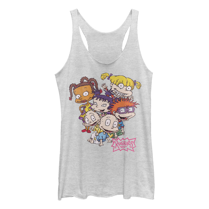 Rugrats Women's Favorite Characters  Racerback Tank Top  White Heather  M