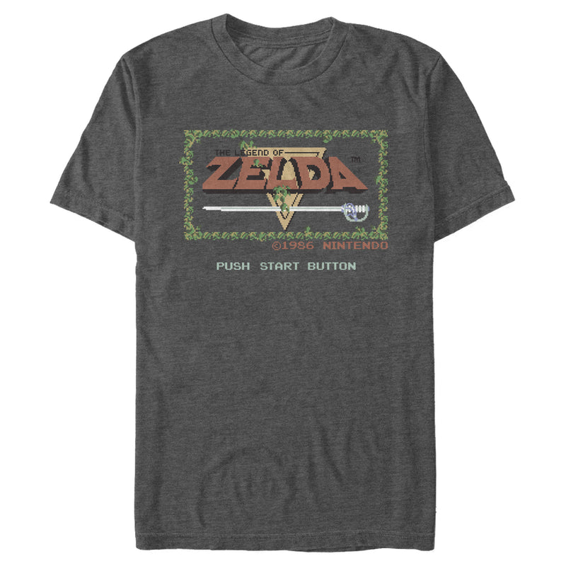 Nintendo Men's Zelda 8-Bit Title Screen  T-Shirt  Charcoal Heather  S