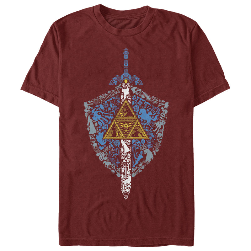Nintendo Men's Legend of Zelda Hidden Pattern  T-Shirt  Cardinal  3XL