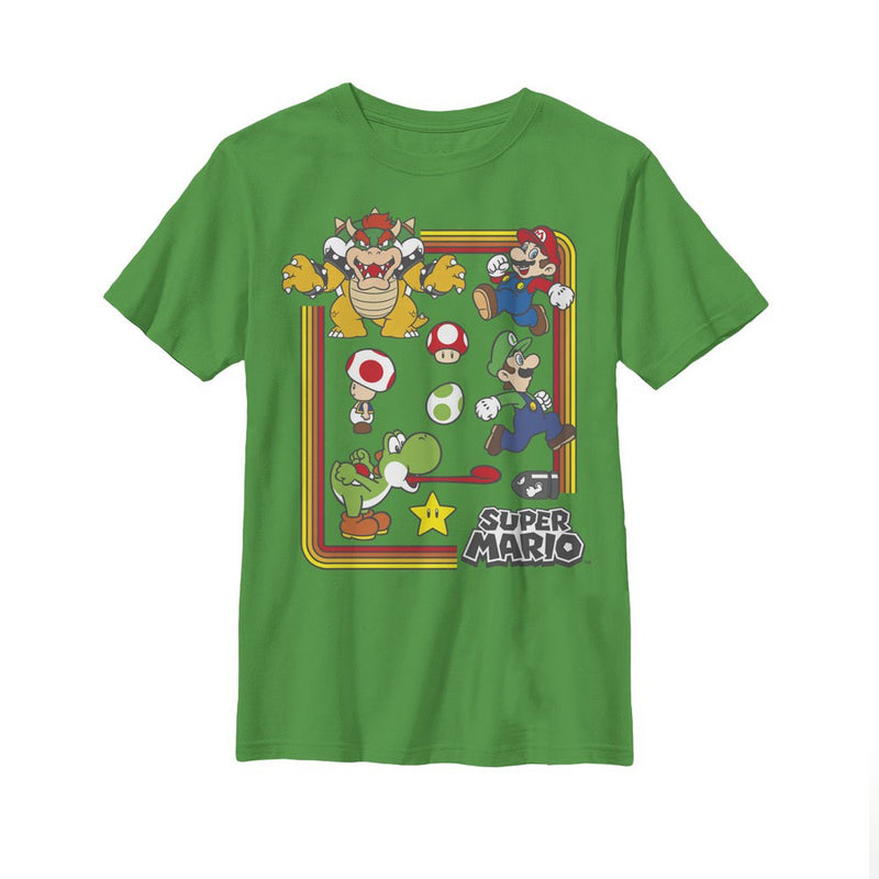 Nintendo Boy's Super Mario Rainbow Frame  T-Shirt  Kelly Green  S