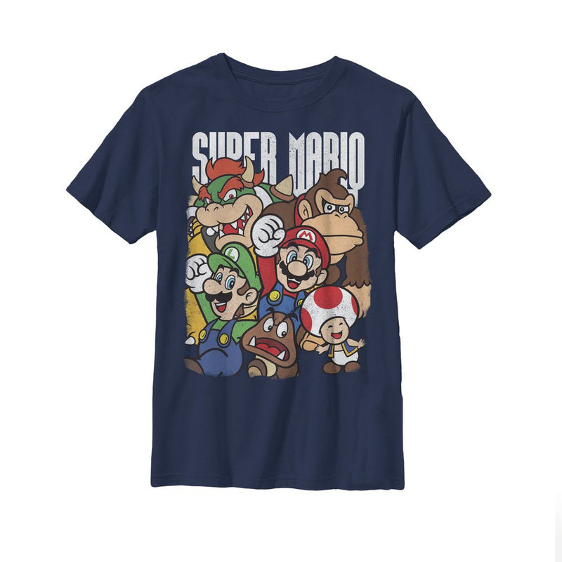 Nintendo Boy's Super Mario Party  T-Shirt  Navy Blue  M