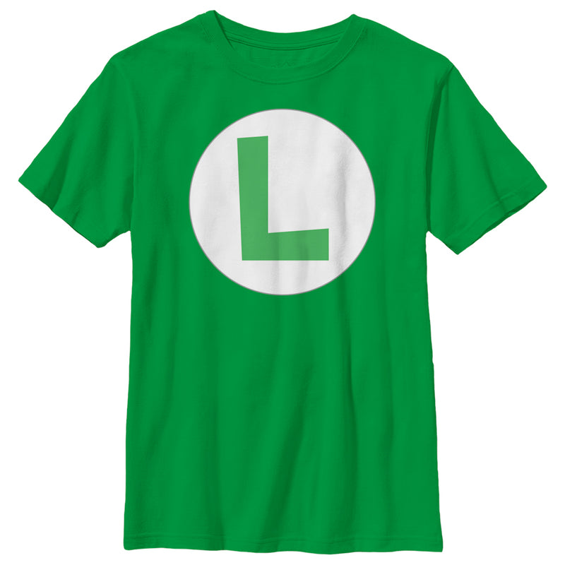 Nintendo Boy's Luigi Circle Icon  T-Shirt  Kelly Green