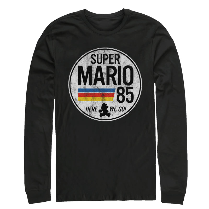 Nintendo Super Mario Retro Rainbow Ring Mens Graphic Long Sleeve Shirt