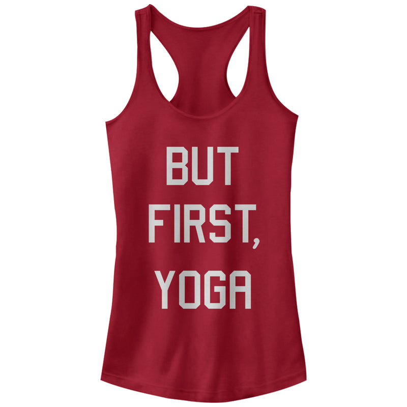 Peaceful Warrior Junior's But First Yoga  Racerback Tank Top  Scarlet  S
