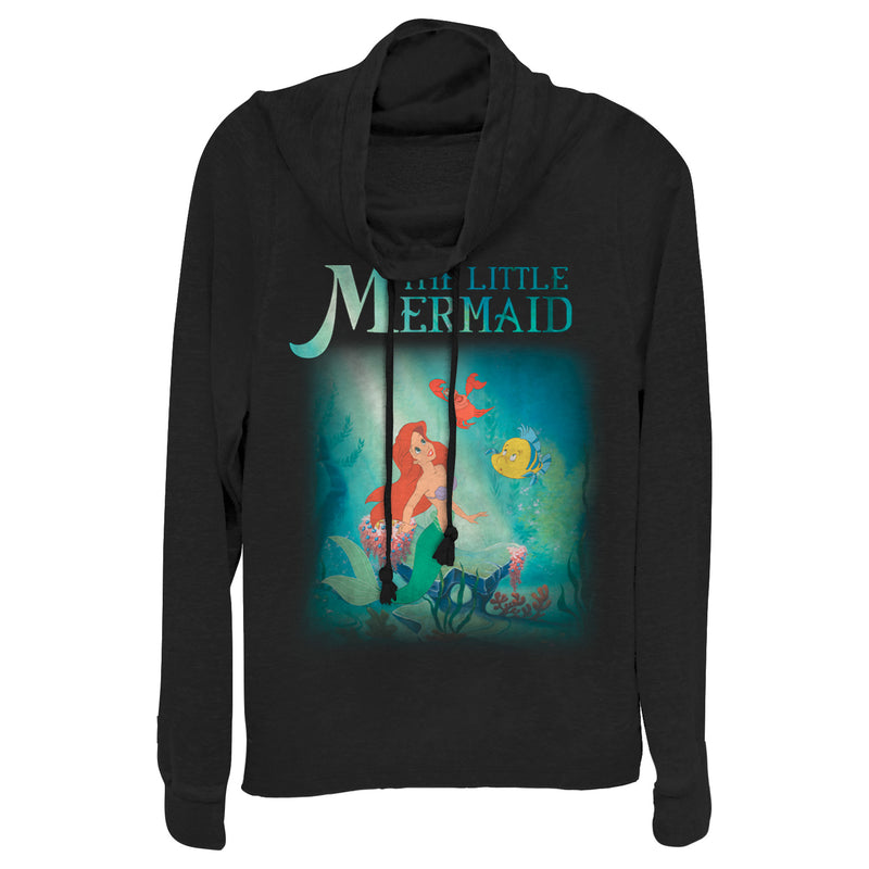 The Little Mermaid Junior's Ariel and Friends  Cowl Neck Sweatshirt  Black  S