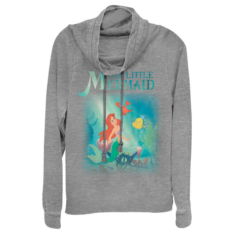 The Little Mermaid Junior's Ariel and Friends  Cowl Neck Sweatshirt  Gray Heather  XS