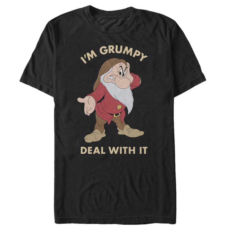 Snow White and the Seven Dwarves Men's Grumpy Deal With It  T-Shirt  Black  3XL