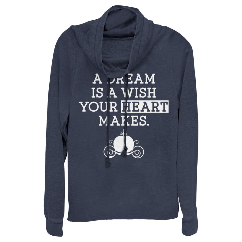 Cinderella A Dream Is a Wish Your Heart Makes Juniors Graphic Cowl Neck Sweatshirt