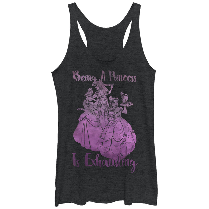 Tangled Women's Being a Princess is Exhausting  Racerback Tank Top  Black Heather  L