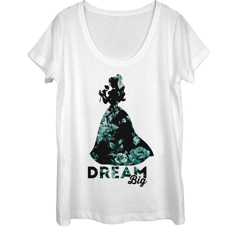 Beauty and the Beast Women's Belle Dream Big Floral Print  Scoop Neck  White  M