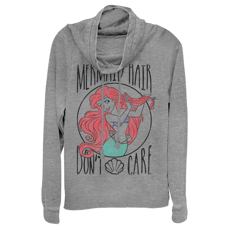 The Little Mermaid Junior's Ariel Hair Don't Care  Cowl Neck Sweatshirt  Gray Heather  M