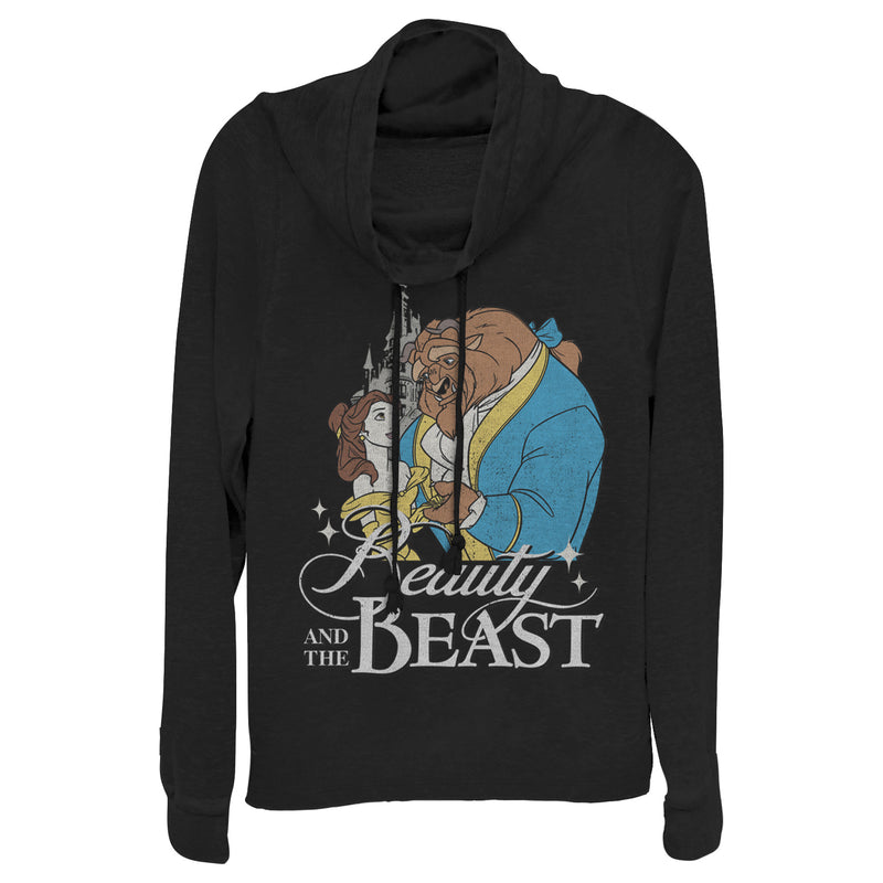 Beauty and the Beast Junior's Classic  Cowl Neck Sweatshirt  Black  M