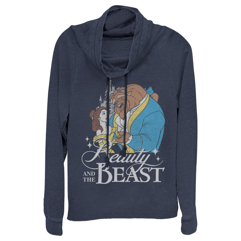 Beauty and the Beast Junior's Classic  Cowl Neck Sweatshirt  Navy Blue  4XL