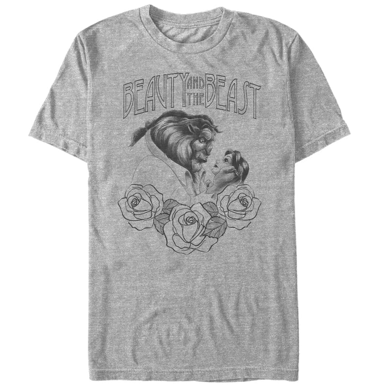 Beauty and the Beast Men's Sketch Print  T-Shirt  Athletic Heather