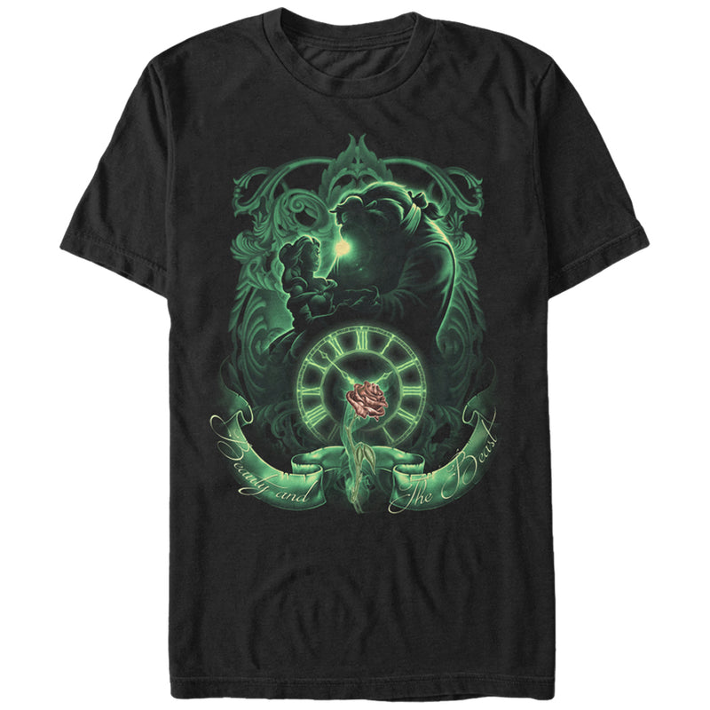 Beauty and the Beast Men's Time  T-Shirt  Black  4XL