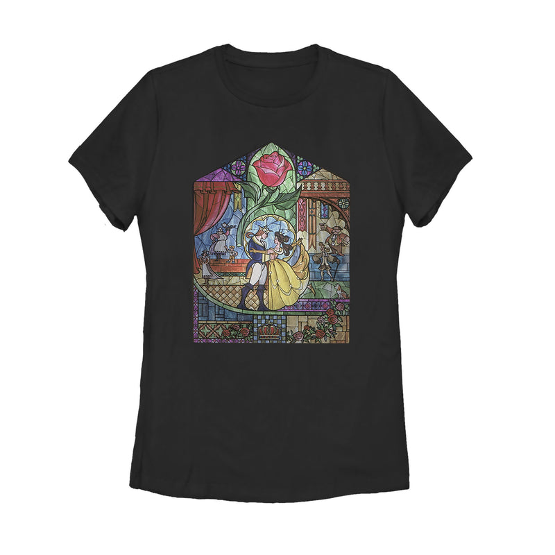 Beauty and the Beast Stained Glass Womens Graphic T Shirt