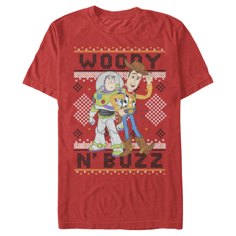 Toy Story Ugly Christmas Woody & Buzz Mens Graphic T Shirt