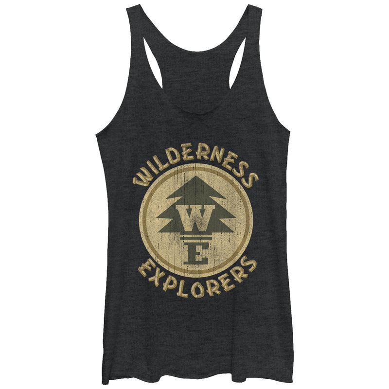 Up Wilderness Explorer Badge Womens Graphic Racerback Tank