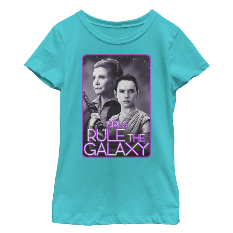 Star Wars The Force Awakens Girl's Leia and Rey Rule the Galaxy  T-Shirt  Tahiti Blue  S